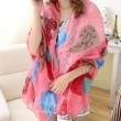 Women Heart Flower Shawl Scarf Dual Beach Towel Sunscreen Scarf