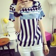 Leisure Geometric Pattern Vertical Stripes Short Sleeve Loose T-shirt