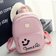 Fresh Smile Face Black Pink Solid School Backpack