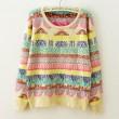 Sweet Rainbow Geometry Print Knitted Sweater