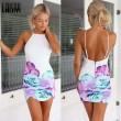 Sexy Floral Printing Slim Braces Dress