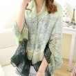 Women Flower Vine Pattern Shawl Scarf Dual Beach Towel Sunscreen Scarf
