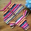 Printing Bandage Bikini Set Wommen Stripe Swimsuit Swimwear