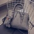 Women Quilted Messenger Bag Double Buckle Handbag Bear Shoulder Bag