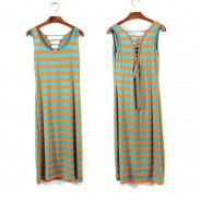 Fashion Backless Straps Rainbow Striped Vest Long Skirt