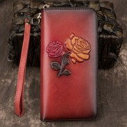 Retro Flower Long Wallet Cowhide Phone Purse Red Yellow Embossed Rose Clutch Bag