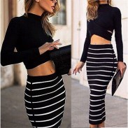 Slim Two Piece Hollow Long Sleeve Striped Dress