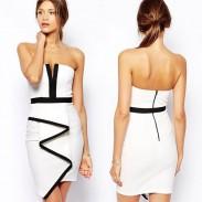 Bodycon Irregular Sleeveless White Party Dress