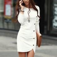 Unique Slit Single Breasted Dress