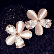 Opal Zircon Floral Stud Earrings/Ear Studs