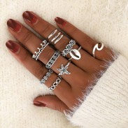 Retro Hollow Love Crown Pattern 11-piece Women Ring Cute Starfish Wave Shell Ring