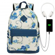 Fresh Flower Vine Rose Trunk Oxford Campus Student School Bag Backpack
