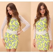 Fresh Cashew Nut Print Lace Sleeve Dress
