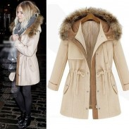 Warm Fur Collar Drawstring Thick Cotton Woolen Coat
