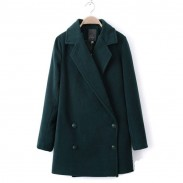 Classic Long Double Breasted Lapel Wool Coat