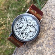 Flower Vine Bird Retro Cowhide Leather Girl Student Watch