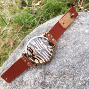 Retro Sexy Leopard Rhinestone Leather Watch