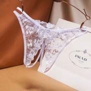 Sexy Transparent Flower Panties Underwear Women's Lingerie Mesh Embroidery Open Crotch T Pants