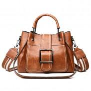 Leisure Crossbody Bags for Women Single Buckle Oil Leather Iron Handle Bucket Messenger Bag Handbag Shoulder Bag
