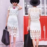 Two-piece Hollow Out Slim Dress