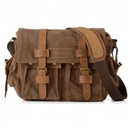 Retro Double Buckle Canvas Bag Man Shoulder Bag
