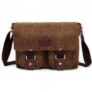 Vintage Front Pocket Canvas Shoulder Bag Messenger Bag