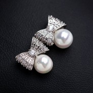 Beautiful Luxury Zircon Pearl Bow Stud Earrings