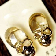 Unique Crystal Skull Earrings Ear Studs