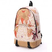 World Map & Newspapers Pattern Backpacks