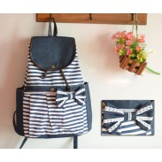 Red Summer Striped Leisure Canvas Backpack  44cc33a64ce8f