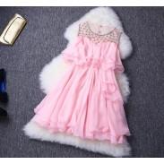 New Shine Snowflake Hand-beaded Rhinestone Flouncing Dress