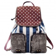 Vintage Star Strip Print Canvas Backpack