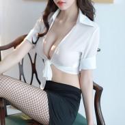 Sexy Temptation Pack Hip Short Skirt Lingerie OL Bow Cosplay Secretary Lingerie