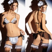 Sexy Women's Lace Splicing Mesh See Through Maid Uniform Temptation Lace Mesh Backless Lingerie