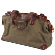 Retro Splicing Real Leather Large Capacity Canvas Travel Zipper Handbag Shoulder Bag