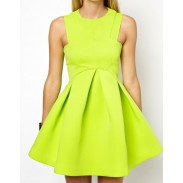 Unique Design Pure Candy Color Sleeveless Swing Dress