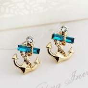 Cute Rhinestone Ocean Navy Gilded Sailor Anchor Earrings
