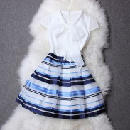 Silk Ribbon Bowknot Organza Lower Hem Striped Dress