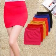 Slim Elastic Waist A-line Package Hip Skirts