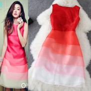 Celebrity Style Organza Gradient Color Flounced Dress