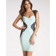 Slim Light Blue Bodycon Geometry Backless Dress
