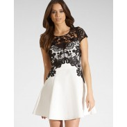 OL Style Hollow Out Black Lace Splice Cotton Dress