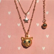 Cute Cat Animal Star Rhinestone Necklace/Ring