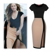 Elegant Short Sleeve Front Slit Pencil Evening Party Dress