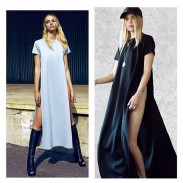 Unique Side Slits Short Sleeve Long Dress