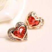Gorgeous Crystal Rhinestone Heart Shape Stud Earrings