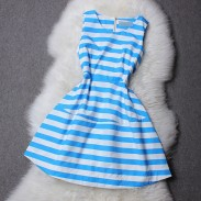 Colorful Blue and Pink Strip Sleeveless Dress