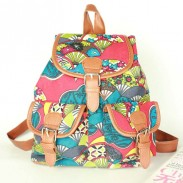 Retro Floral Plant Graffiti Printing Fashion Backpack