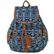 Hit Color Folk Geometry Print Canvas School Bag College Backpack