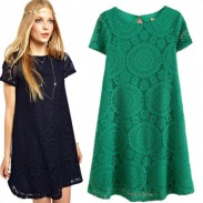 Loose Hollow Lace Short Sleeve Dress A-line Dress